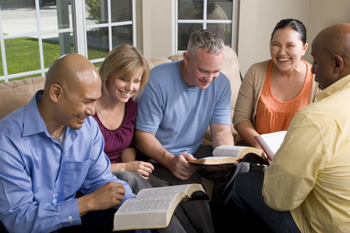 [Photo of a Bible study group]