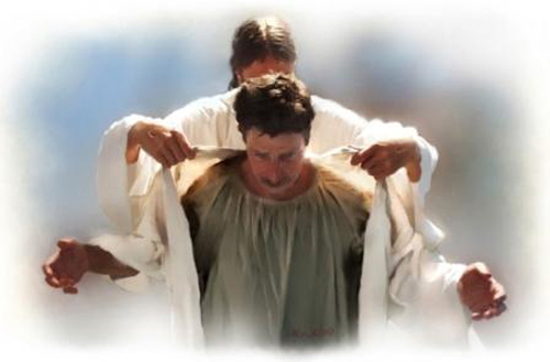 [Photo of Jesus giving a man a new robe]