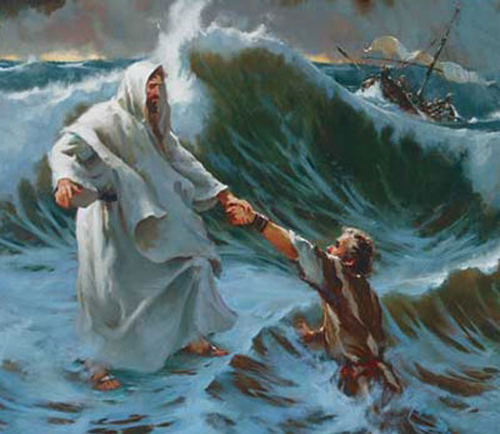 [Photo of Jesus rescuing Peter]