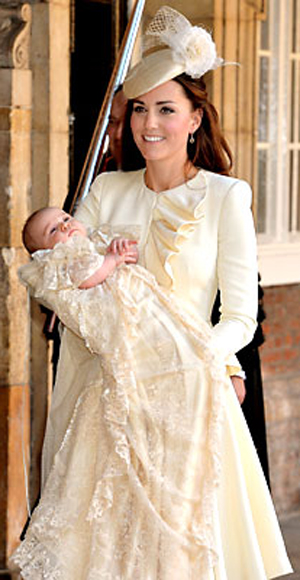 [Photo of Kate and Prince George at his christening]