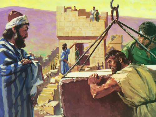 [Drawing of Nehemiah supervising the building of the wall around Jerusalem]