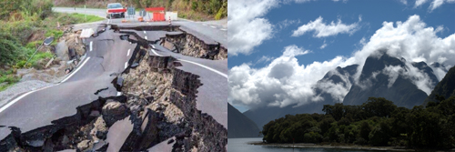 [Photo of broken highway and mountain vista]