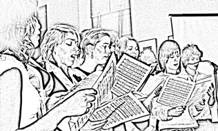 [Line Drawing of a Choir]