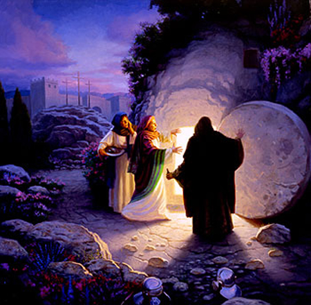 [Painting of the empty tomb on Resurrection morning]
