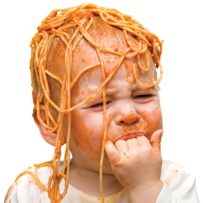 [Photo of a small child covered in spaghetti]