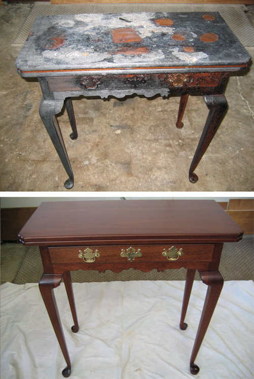 [Photo of a before and after furniture restoration]