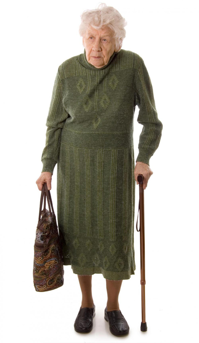 [Photo of an old woman with a purse]