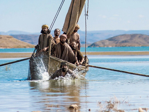 [Photo of Jesus' disciples on the Sea of Galilee]