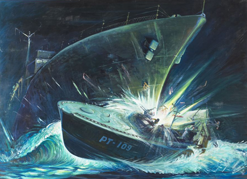 [Photo of the Painting of the sinking of PT-109]