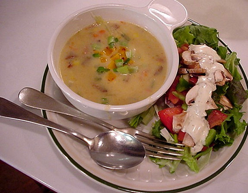 [Photo of soup and salad]