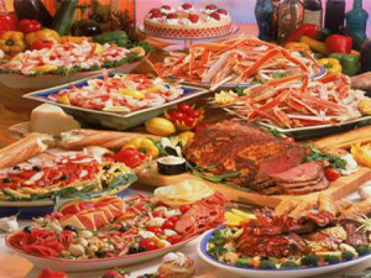 [Photo of a large food buffet]