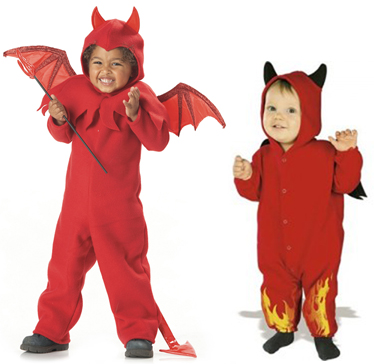[Photo of small boys in a Halloween devil's costumes]