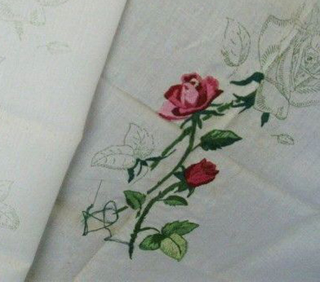 [Photo of an embroidery not yet finished]