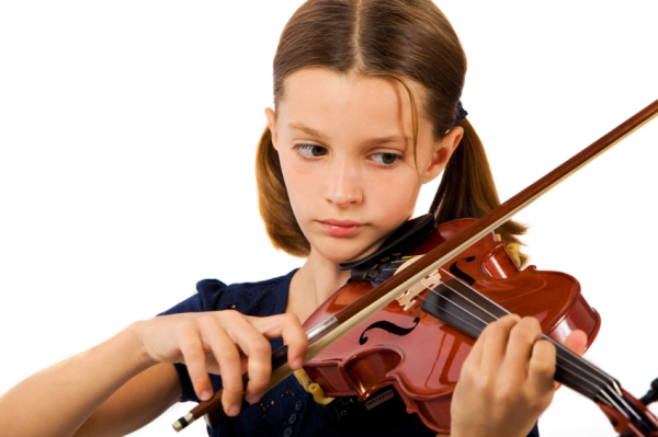 [Photo of a young girl playing the violin]