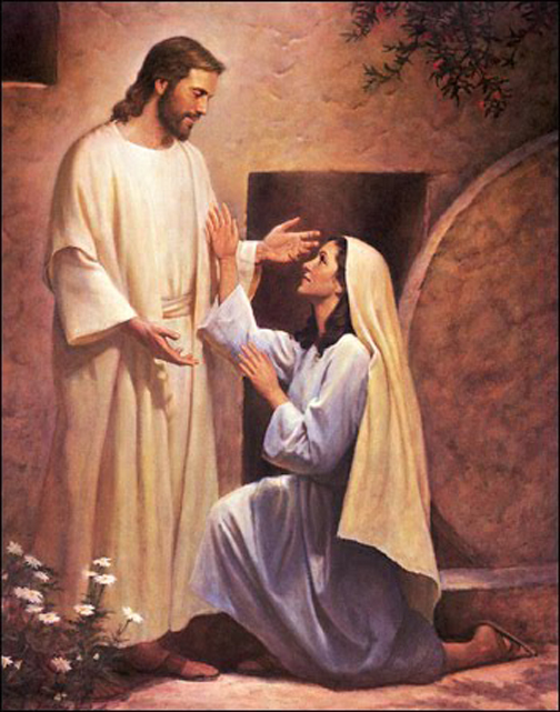 [Drawing of Jesus and Mary at the tomb]