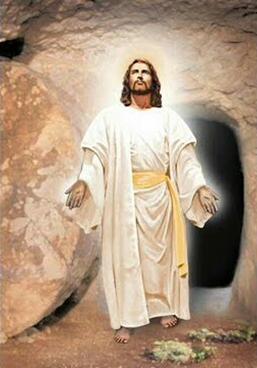 [Drawing of Jesus leaving the tomb]