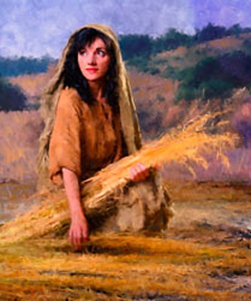 [Drawing of Ruth gleaning in Boaz' fields]