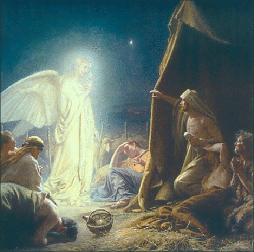 [Photo of an angel appearing to Mary and Joseph]