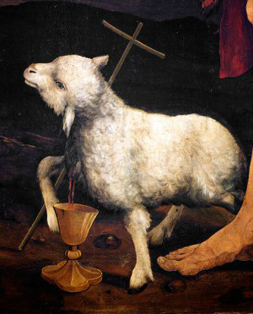 [Painting of a lamb and the cross]