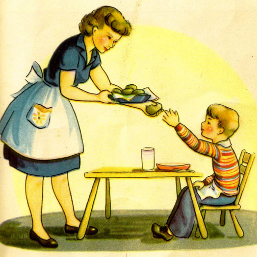 [Cartoon of a mother giving a roll to your child]