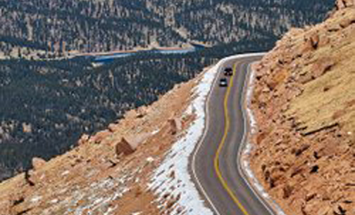 [Photo of the road to Pikes Peak]