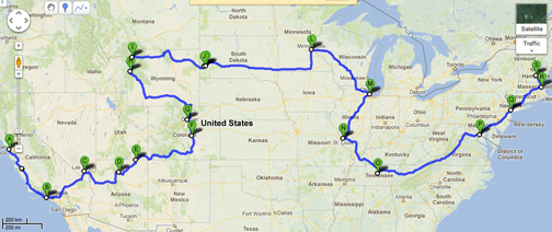 [Graphic of a road trip map]